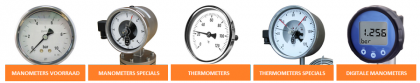 Pressure Gauges & Thermometers in all diversities