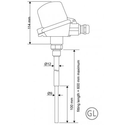 Thermocouple avec tête de raccordement homologation BUZ-H et GL