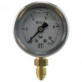 7211 / 7214 Manometers RVS kast, glycerine gevuld, messing